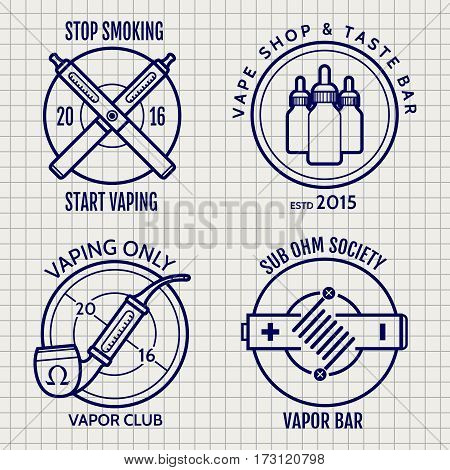 Ball pen vape shop logo or banners design on notebook page background. ector illustration