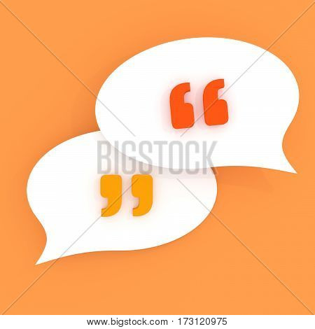 Quotes in speech bubbles. Symbol of chat. Isolated 3D illustration on orange background.