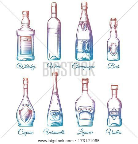 Colorful alcohol bottles collection isolated on white background. Vector illustration