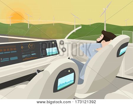Self-driving electric car goes with relaxing passenger. Autonomous intelligent car without roof. Happy man sitting in comfortable smart car. Inside view. Flat style vector illustration.