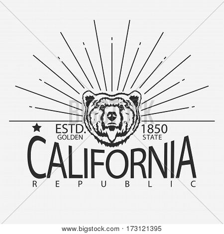 California Republic vintage typography, Head of grizzly Bear print, Design for t-shirt. Golden State Clothing emblem. Vector