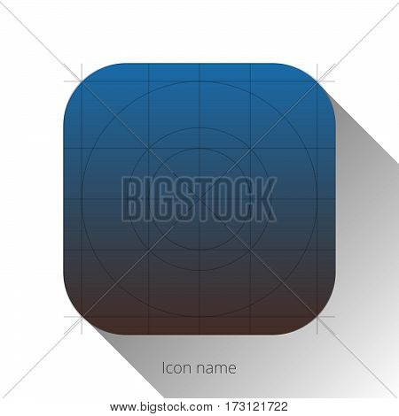 Abstract blue-brown app icon, blank button template with flat designed shadow and gradient background for internet sites, web user interfaces and applications. Vector illustration.