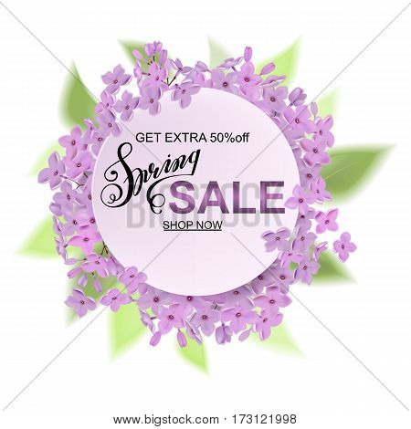 Advertisement About The Spring Sale On Defocused Background With Beautiful Cherry Blossom. Vector Il