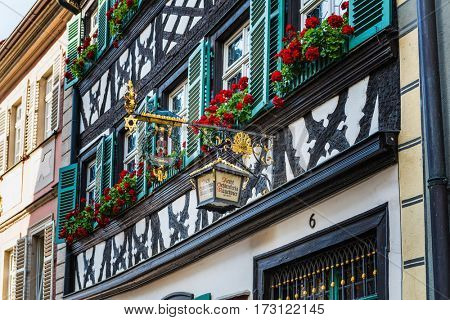 BAMBERG, GERMANY - Circa September, 2016: Facade of the Schlenkerla brewery in Bamberg, Germany. It is famous for its smoked beer (Rauchbier)