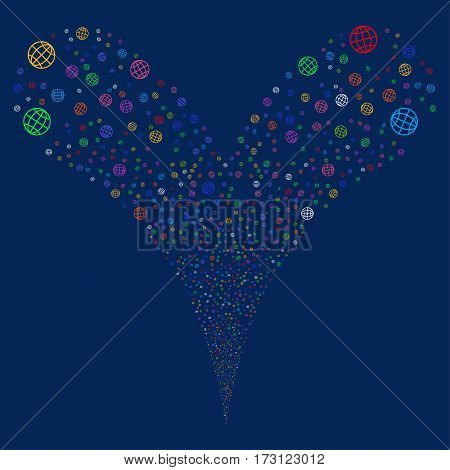 Globe fireworks stream. Vector illustration style is flat bright multicolored iconic symbols on a blue background. Object double fountain created from random pictograms.