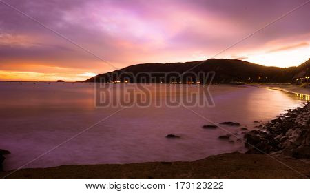 A Sunset of the California Coast line