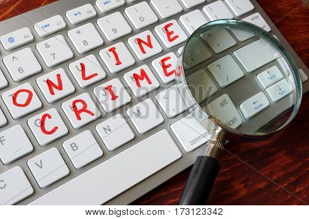 Online crime written on a computer keyboard.