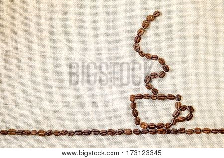 Burlap Sackcloth Canvas And Coffee Beans Photo Background. Copy Space. Coffee Border
