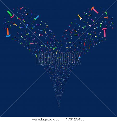 Hammer fireworks stream. Vector illustration style is flat bright multicolored iconic symbols on a blue background. Object double fountain organized from random pictographs.