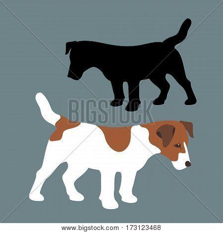 Terrier vector illustration style Flat set black silhouette