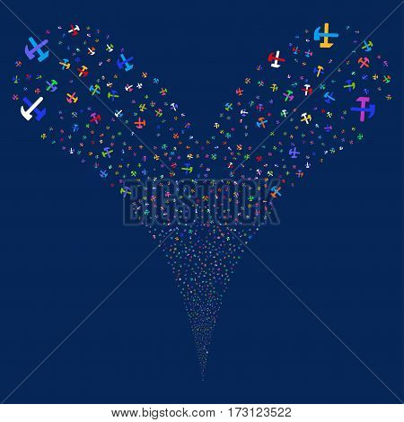 Hammers fireworks stream. Vector illustration style is flat bright multicolored iconic symbols on a blue background. Object double fountain created from random pictographs.
