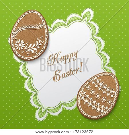 Happy Easter greeting card with polka dot background lacy doily and egg-shaped gingerbread cookies. Vector Illustration