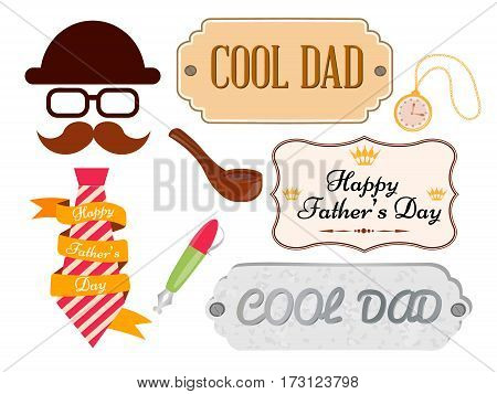 Set of greeting cards and posters happy father's day Vector illustration