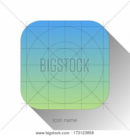 iOS abstract blue-green app icon, blank button template with flat designed shadow and gradient background for internet sites, web user interfaces (UI) and applications (apps). Vector illustration.