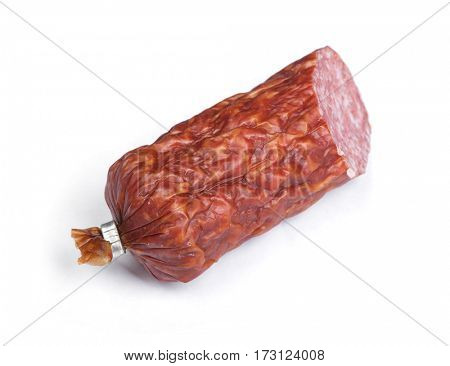 Half of  salami sausage isolated on white