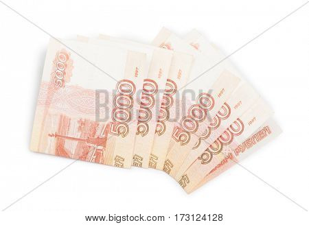 Russian money isolated on white