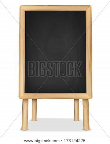 Wooden easel with empty chalkboard for your text - vector illustration