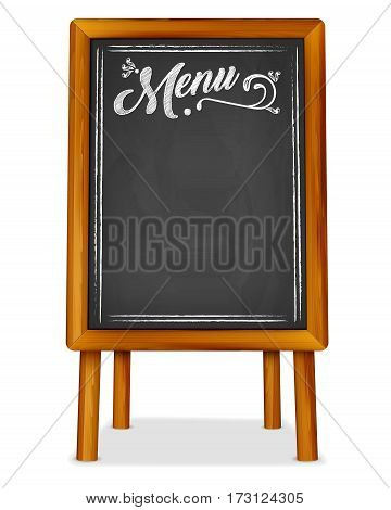 Wooden easel with chalkboard and MENU chalk inscription - place for your text. Vector illustration.