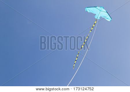 Kite flying against the blue sky on a sunny day