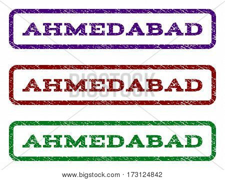 Ahmedabad watermark stamp. Text caption inside rounded rectangle frame with grunge design style. Vector variants are indigo blue red green ink colors. Rubber seal stamp with scratched texture.
