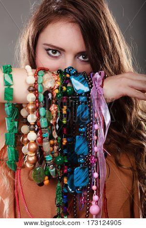 Pretty Woman With Jewelry Necklaces Bracelets