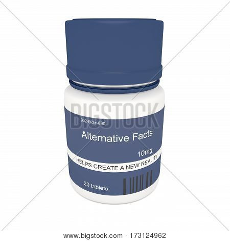 Media News Concept: Blue Pill Bottle Alternative Facts 3d illustration on white background