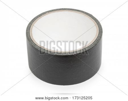 Black industrial tape in roll isolated on white