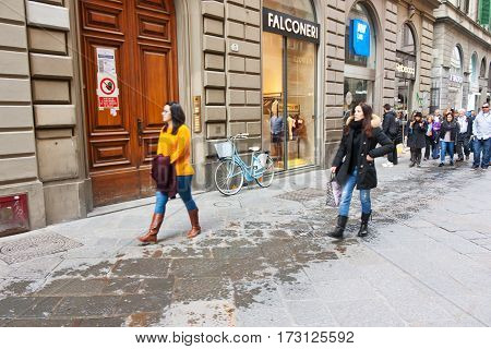 FLORENCE ITALY - FEBRUARY 06 2017:Tourists in the old streets of Firenze