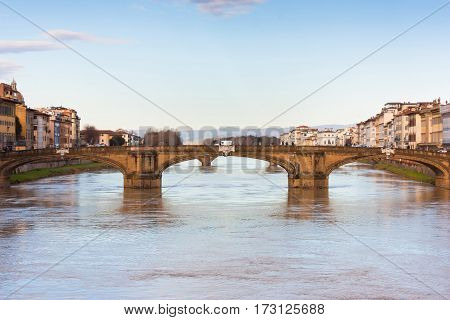 FLORENCE ITALY - FEBRUARY 07 2017:. River Arno and famous bridge (Firenze Toscana).