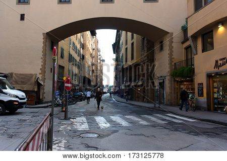 FIRENZE ITALY - February 06 2017 - street with houses with green shutters in Florence Italy