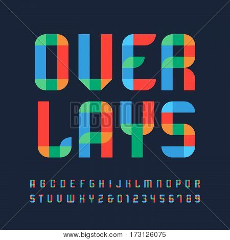 Color Font. Vector Alphabet With Overlay Effect Letters And Numbers.