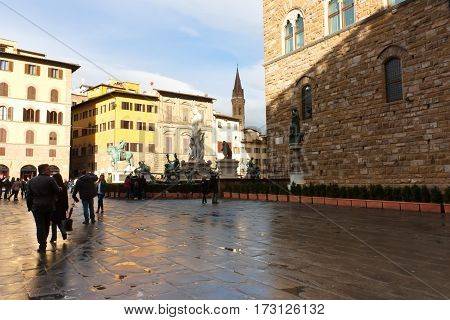 FIRENZE ITALY - February 06 2017 - Famous Fountain of Neptune on Piazza della Signoria in Florence Italy
