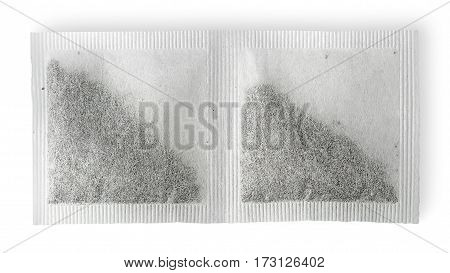 Dual tea bag horizontally isolated on white background