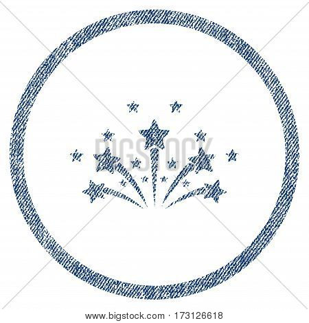 Star Fireworks textured icon for overlay watermark stamps. Blue jeans fabric vectorized texture. Rounded flat vector symbol with dust design.