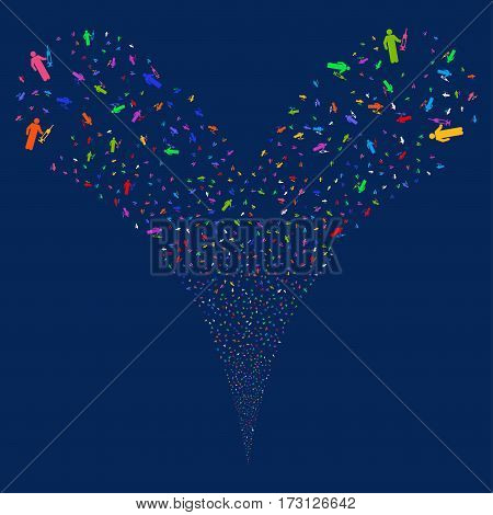 Medic fireworks stream. Vector illustration style is flat bright multicolored iconic symbols on a blue background. Object double fountain created from random symbols.