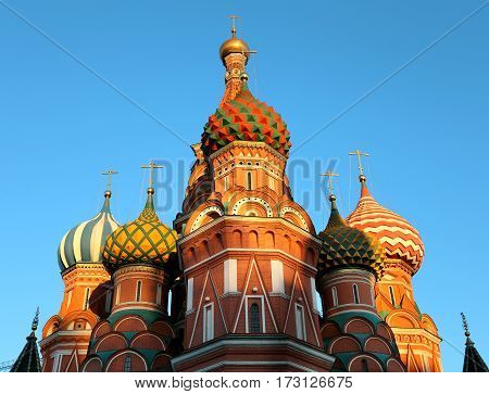 St Basils Cathedral photographed in close-up in Moscow on red square