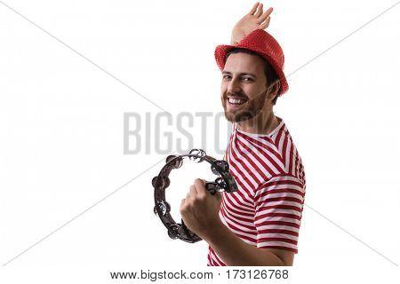 Man playing samba isolated on white background