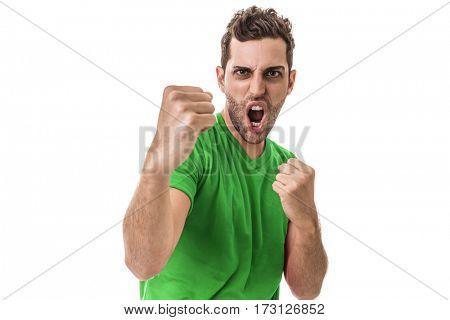 Man wearing green uniform celebrates on white background