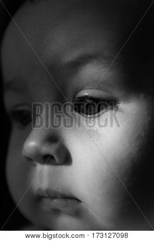 Sad face baby. A tear on the face