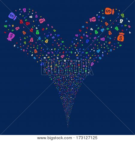 Money Bag fireworks stream. Vector illustration style is flat bright multicolored iconic symbols on a blue background. Object double fountain organized from random pictographs.