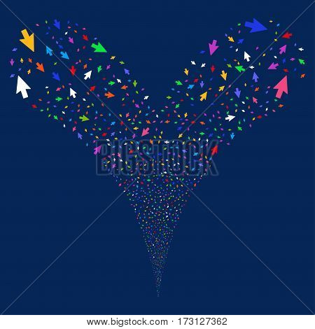 Mouse Cursor fireworks stream. Vector illustration style is flat bright multicolored iconic symbols on a blue background. Object double fountain organized from random design elements.