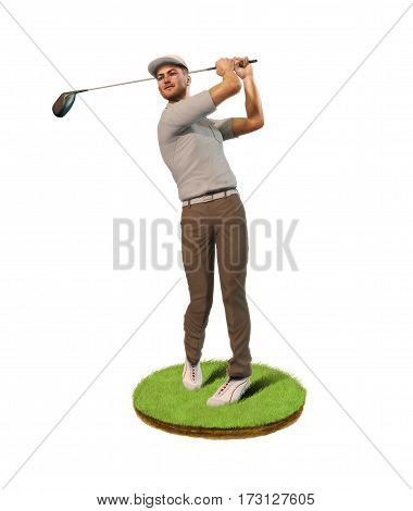 3D painting of a man male golf player teeing-off standing on a patch of grass front view.
