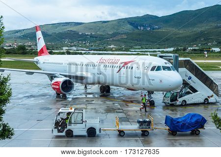 Split Airport Croatia - May 12 2016: Austrian airlines Airbus on the tarmac