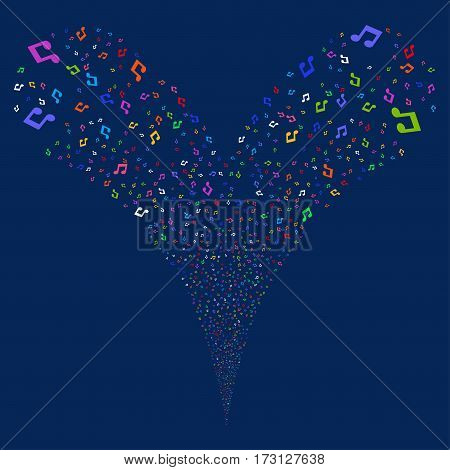Music Notes fireworks stream. Vector illustration style is flat bright multicolored iconic symbols on a blue background. Object double fountain combined from random pictographs.