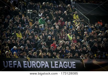 VILLARREAL, SPAIN - FEBRUARY 16: Spectators during UEFA Europa League match between Villarreal CF and AS Roma at Ceramica Stadium on February 16, 2017 in Villarreal, Spain