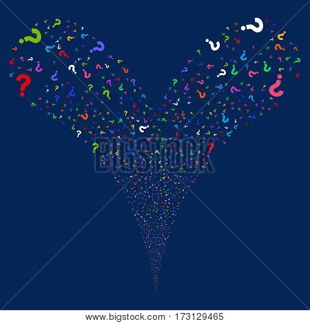 Question fireworks stream. Vector illustration style is flat bright multicolored iconic symbols on a blue background. Object double fountain created from random symbols.