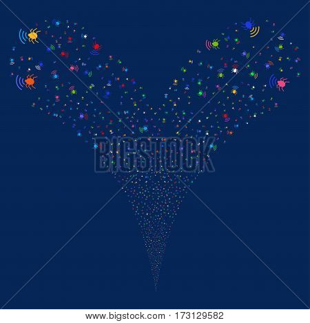 Radio Bug fireworks stream. Vector illustration style is flat bright multicolored iconic symbols on a blue background. Object double fountain created from random pictographs.
