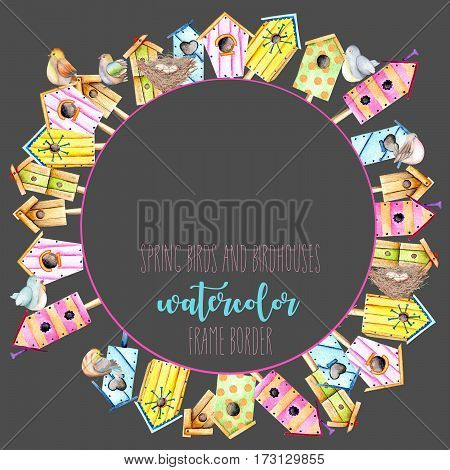 Card template, circle frame border with watercolor colorful birdhouses, cute birds and nests, hand drawn on a dark background