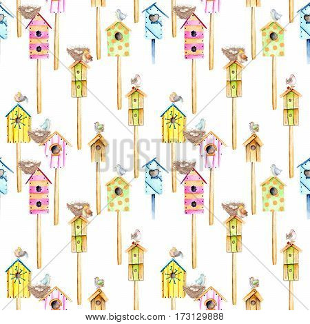Seamless pattern with watercolor colorful birdhouses, cute birds and nests, hand drawn isolated on a white background