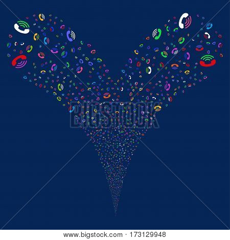 Ring fireworks stream. Vector illustration style is flat bright multicolored iconic symbols on a blue background. Object double fountain constructed from random design elements.
